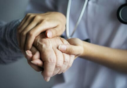 Closeup of a support hands